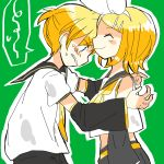 1boy 1girl 7:24 ^_^ arms_at_sides bare_shoulders blonde_hair blue_eyes blush blush_stickers bow brother_and_sister clenched_teeth closed_eyes crop_top detached_sleeves embarrassed hair_bow hair_ornament hairclip imminent_hug kagamine_len kagamine_rin looking_down midriff necktie nervous sailor_collar shirt short_hair short_ponytail shorts siblings sketch sleeveless sleeveless_shirt smile spoken_squiggle squiggle sweatdrop teeth twins vocaloid waiting yellow_neckwear