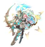 1girl armor arrow_(projectile) asagon007 belt black_legwear blue_eyes bow_(weapon) breastplate claws elf eyebrows_visible_through_hair fantasy feathers floating glowing glowing_eyes glowing_weapon hair_feathers highres holding holding_bow_(weapon) holding_weapon jewelry long_hair navel necklace open_mouth original pauldrons pink_hair pointy_ears quiver shoulder_armor simple_background smile smole spikes teeth thigh-highs upper_teeth vambraces weapon white_background
