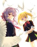 2girls :d bangs bird black_jacket black_skirt blonde_hair blue_eyes blurry_foreground bow bowtie braid crossed_arms crown_braid floating_hair gloves hair_between_eyes hair_bow hiiragi_shinoa jacket kero_sweet long_hair looking_at_viewer military_jacket miniskirt multiple_girls open_mouth owari_no_seraph pleated_skirt purple_bow purple_hair red_bow red_eyes red_neckwear sanguu_mitsuba shiny shiny_hair simple_background single_hair_intake skirt sleeves_rolled_up smile standing white_background white_gloves