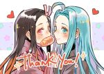 2girls ahoge black_hair blue_eyes blue_hair blue_nails granblue_fantasy hair_intakes hair_ribbon hakamii heart kamado_nezuko kimetsu_no_yaiba long_hair lyria_(granblue_fantasy) multicolored_hair multiple_girls nail_polish orange_hair pink_eyes pink_nails pink_ribbon ribbon shiny shiny_hair sketch straight_hair thank_you two-tone_hair upper_body very_long_hair