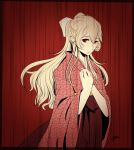 1girl alternate_costume bangs bow corrin_(fire_emblem) corrin_(fire_emblem)_(female) eyebrows_visible_through_hair fire_emblem fire_emblem_fates floral_print hair_between_eyes hair_bow hakama japanese_clothes kimono limited_palette long_hair long_sleeves looking_at_viewer print_kimono red_background red_eyes red_hakama red_kimono signature silver_hair solo standing very_long_hair white_bow wide_sleeves yori_(a_a_yori)
