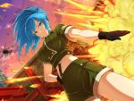 1girl aircraft blue_eyes blue_hair breasts building_block earrings explosion gloves helicopter jewelry large_breasts leona_heidern long_hair looking_at_viewer midriff official_art senran_kagura senran_kagura_new_wave serious the_king_of_fighters yaegashi_nan