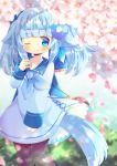 1girl ;) animal_ear_fluff animal_ears bangs blue_dress blue_eyes blue_hair blue_neckwear blue_sailor_collar blunt_bangs blurry blurry_foreground blush brown_legwear closed_mouth commentary_request commission depth_of_field dress eyebrows_visible_through_hair flower hair_ornament kouu_hiyoyo long_hair long_sleeves neckerchief one_eye_closed original pantyhose petals sailor_collar sailor_dress sleeves_past_wrists smile solo tail twintails white_flower