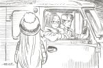 1boy 2girls brown_theme car character_request dated glasses ground_vehicle hat horikou long_hair looking_at_viewer military_hat monochrome motor_vehicle multiple_girls parted_lips real_life signature smile soviet_army standing van yurucamp