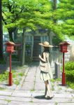 1girl absurdres architecture bag brown_hair building day dress east_asian_architecture full_body hat highres huge_filesize long_hair original outdoors raito_(latek) sandals scenery shoulder_bag shrine sleeveless sleeveless_dress solo stairs standing stone_lantern straw_hat sun_hat sundress torii tree white_dress