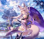 1girl animal_ears architecture armor armored_boots ass back bare_shoulders black_legwear blush boots breasts clouds cloudy_sky commentary_request cowboy_shot day dress earrings east_asian_architecture floating_hair floral_print flower fox_ears fox_mask fox_tail frill_trim frills from_behind hair_ornament highres hilt hydrangea japanese_clothes jewelry katana kimono large_breasts lens_flare long_hair looking_at_viewer mask mask_on_head off-shoulder_dress off_shoulder open_mouth oriental_umbrella original outdoors print_kimono rain rainbow red_eyes sanbasou sheath sheathed short_kimono shrine sidelocks signature silver_hair sky solo standing sun_flare sunlight sword sword_behind_back tail thigh-highs torii tree umbrella water weapon weapon_on_back wet white_legwear wide_sleeves