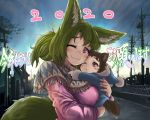 1boy 1girl 2020 :3 animal_ears baby blonde_hair blush brown_hair capelet doitsuken fox_ears fox_son_(doitsuken) fox_tail fox_wife_(doitsuken) looking_at_viewer medium_hair mother_and_son one_eye_closed original outdoors pink_eyes pink_sweater ponytail short_hair smile sunrise sweater tail toddler