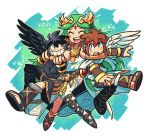 1girl 2boys :d ^_^ angel_wings black_hair black_wings bracer bright_pupils brown_hair circlet closed_eyes dark_pit dress feathered_wings green_hair kid_icarus long_hair multiple_boys notice_lines open_mouth palutena pit_(kid_icarus) rariatto_(ganguri) red_eyes round_teeth shoes single_thighhigh smile teeth thigh-highs tiara upper_teeth very_long_hair violet_eyes white_dress white_legwear white_pupils white_wings wings