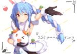 1girl ;) ame. animal_ear_fluff animal_ears anniversary arm_up armpits bangs black_gloves blue_hair blush bow braid brown_eyes brown_legwear carrot_hair_ornament closed_mouth commentary_request detached_sleeves don-chan_(hololive) dress eyebrows_visible_through_hair food_themed_hair_ornament fur-trimmed_dress fur-trimmed_gloves fur_trim gloves hair_between_eyes hair_bow hair_ornament heart highres hololive long_hair multicolored_hair one_eye_closed pantyhose puffy_short_sleeves puffy_sleeves rabbit_ears short_eyebrows short_sleeves smile thick_eyebrows twin_braids twintails two-tone_hair usada_pekora very_long_hair virtual_youtuber white_background white_bow white_dress white_hair white_sleeves