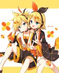 1boy 1girl :d bangs black_shorts blonde_hair blue_eyes blush brother_and_sister closed_mouth commentary_request diagonal_stripes eyebrows_visible_through_hair feet_out_of_frame hair_between_eyes hair_ornament hairclip hand_up headphones headset kagamine_len kagamine_rin long_sleeves looking_at_viewer mauve open_mouth short_shorts shorts siblings sitting smile striped striped_background twins twitter_username vocaloid w white_background wide_sleeves x_hair_ornament