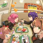 4girls absurdres ahoge bangs blazer blue_eyes blush brand_name_imitation buchi0122 chicken_nuggets closed_eyes closed_mouth commentary_request cup disposable_cup doki_doki_literature_club eyebrows_visible_through_hair fast_food feeding food french_fries green_eyes hair_intakes hair_ornament hair_ribbon hairclip heart highres jacket looking_at_viewer monika_(doki_doki_literature_club) multiple_girls natsuki_(doki_doki_literature_club) open_mouth ribbon sayori_(doki_doki_literature_club) smile sparkle sparkling_eyes violet_eyes yuri_(doki_doki_literature_club)