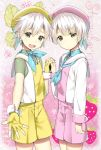 2boys brothers double_scoop_(food_fantasy) fingerless_gloves food_fantasy gloves hat highres holding_hands multiple_boys pink_eyes sailor_collar sailor_hat short_hair shorts siblings smile strawberry_(food_fantasy) vanilla_(food_fantasy) white_hair yellow_eyes
