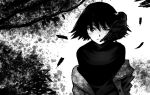 1girl animal_on_shoulder bird bird_on_shoulder black_eyes black_hair black_shirt branch crow feathers greyscale jacket looking_at_viewer monochrome nonaka_haru one_eye_closed reiquant shirt short_hair solo standing upper_body yesterday_wo_utatte