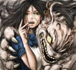 1girl alice:_madness_returns alice_(wonderland) alice_in_wonderland american_mcgee's_alice animal_ears apron black_hair cat_ears ceramic_man cheshire_cat dress earrings green_eyes highres jewelry long_hair looking_at_viewer necklace open_mouth smile