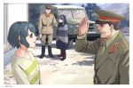 2boys 2girls :d beanie blue_hair boots border brown_hair car dated eye_contact green_jacket greyscale ground_vehicle hat horikou jacket looking_at_another military military_hat military_jacket military_uniform monochrome motor_vehicle multiple_boys multiple_girls open_mouth outdoors real_life salute shima_rin shima_saki signature smile soldier soviet soviet_army uaz_469 uniform violet_eyes white_border yurucamp