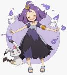 1girl acerola_(pokemon) armlet blush closed_eyes dress elite_four gen_5_pokemon gen_7_pokemon hair_ornament hairclip litwick lunia mimikyu outstretched_arms patch pokemon pokemon_(game) pokemon_sm purple_dress purple_hair sandals trial_captain