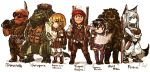 4boys 4girls :3 armor black_eyes black_hair blonde_hair blue_eyes boots bright_pupils camouflage chibi closed_mouth dated eyebrows_visible_through_hair fairy furry goggles green_eyes hand_up holding jitome kotoba_noriaki long_hair looking_at_viewer minigirl multiple_boys multiple_girls orange_hair original pelvic_curtain pickaxe pointy_ears purple_footwear short_hair signature simple_background smile standing thigh-highs thigh_boots vest white_background white_hair white_pupils