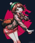 1girl allen_(makaroll) artist_name bangs bob_cut brown_bag brown_eyes brown_hair buttons cardigan collared_dress commentary dark_background dress eyebrows_behind_hair feet_out_of_frame green_headwear grey_cardigan hand_up hat holding_strap leaning_forward legs_together light_blush long_sleeves looking_at_viewer one_eye_closed open_mouth outstretched_arm pink_dress poke_ball pokemon pokemon_(game) pokemon_swsh short_dress short_hair smile solo standing tam_o'_shanter v yuuri_(pokemon)
