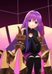 1girl bangs bare_shoulders belt_collar black_legwear breasts claw_(weapon) claws collar fate/extra fate/extra_ccc fate_(series) hair_ribbon highres huge_breasts long_hair looking_at_viewer o-ring o-ring_top open_mouth passionlip pink_ribbon pink_skirt purple_hair purple_ribbon ribbon skirt violet_eyes weapon zenshin