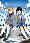 2girls ^_^ bandages bandaid bandaid_on_face bandaid_on_knee closed_eyes clouds cover cover_page holding_hands injury looking_at_another multiple_girls nakatani_nio open_mouth puddle railing school_uniform shadow sitting sky smile white_legwear