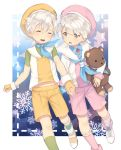 2boys brothers closed_eyes double_scoop_(food_fantasy) fingerless_gloves food_fantasy gloves hat holding holding_hands holding_stuffed_animal multiple_boys pink_eyes sailor_collar sailor_hat short_hair shorts siblings strawberry_(food_fantasy) stuffed_animal stuffed_toy teddy_bear vanilla_(food_fantasy) white_hair