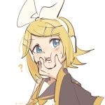 1boy 1girl ? bangs bare_shoulders black_collar black_sleeves blonde_hair blue_eyes bow cheek_squash collar crop_top detached_sleeves hair_bow hair_ornament hairclip highres kagamine_len kagamine_rin looking_at_another m0ti open_mouth out_of_frame sailor_collar school_uniform shirt short_hair sideways_glance sweat swept_bangs twitter_username upper_body vocaloid white_background white_bow white_shirt yellow_neckwear