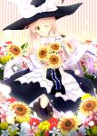 1girl ;d akane_hazuki bangs black_skirt blonde_hair bouquet bow eyebrows_visible_through_hair flower gradient_hair hair_between_eyes hat hat_bow holding holding_bouquet kirisame_marisa long_hair long_skirt looking_at_viewer multicolored_hair one_eye_closed open_mouth shirt silver_hair skirt smile solo striped striped_background sunflower touhou very_long_hair white_bow white_shirt yellow_eyes yellow_flower