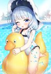 ahoge azur_lane barefoot blue_eyes blush child choker frilled_swimsuit frills hat highres inflatable_duck inflatable_toy legs_up little_illustrious_(azur_lane) long_hair low_twintails melo_(meromero) one-piece_swimsuit one_eye_closed open_mouth pool riding silver_hair sun_hat swimsuit thighs twintails water white_headwear white_swimsuit