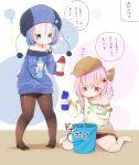 2girls alchemy blue_dress dress gurantsu highres multiple_girls original translation_request
