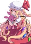 1girl :t alternate_hair_length alternate_hairstyle blonde_hair blush commentary_request crossed_arms fingernails flandre_scarlet hat hat_ribbon highres long_hair looking_to_the_side mob_cap nail_polish object_hug one_side_up partial_commentary puffy_short_sleeves puffy_sleeves red_nails red_skirt red_vest ribbon shirt short_sleeves simple_background sitting skirt solo stuffed_animal stuffed_bunny stuffed_toy touhou tsukimirin very_long_hair vest wariza white_background white_headwear white_shirt wings wrist_cuffs yellow_neckwear