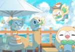 >_< bird closed_eyes clouds commentary_request cup day drinking_straw drooling fence flying food gen_7_pokemon holding_jug jug mouth_hold no_humans open_mouth outdoors owl pancake pokemon pokemon_(creature) rowlet saliva signature sky sorubetto starter_pokemon teacup tongue