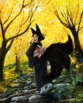 1girl :d animal_ears black_kimono black_nails black_sclera doitsuken fingernails forest fox_ears fox_tail from_behind japanese_clothes kimono kitsune_spirit_(doitsuken) long_sleeves looking_at_viewer nail_polish nature obi open_mouth original outdoors sash sharp_fingernails sharp_teeth smile solo tail teeth wide_sleeves yellow_eyes