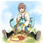 absurdres bangs black_footwear black_legwear brown_hair clouds collarbone commentary_request curry day dynamax_band eyebrows_visible_through_hair food gen_5_pokemon gloves golett grass highres holding holding_spoon jacket long_sleeves mossan_(pfar4853) open_mouth outdoors pokemon pokemon_(creature) pokemon_(game) pokemon_swsh shiny shiny_hair shoes single_glove sitting sky socks spoon teeth tongue white_jacket wristband