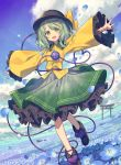 1girl black_footwear black_headwear blue_flower blue_sky boots clouds collared_shirt day floral_print flower frilled_skirt frills green_eyes green_hair green_skirt hat hat_ribbon heart heart_of_string highres komeiji_koishi long_sleeves looking_at_viewer medium_hair open_mouth outdoors outstretched_arms petals ribbon shirt skirt sky smile solo spread_arms third_eye torii touhou wide_sleeves wind yellow_ribbon yellow_shirt zaza_(x-can01)