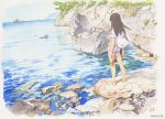 1girl bare_legs black_hair facing_away from_behind open_clothes open_shirt original outdoors rock sandals sandals_removed scenery shore short_sleeves shorts solo tanaka_kunihiko traditional_media water watercolor_(medium) white_shorts