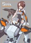 1girl absurdres bangs blush breasts brown_eyes brown_hair commentary_request eyebrows_visible_through_hair gloves grey_background grey_leotard gun headgear highres kopaka_(karda_nui) leotard medium_breasts original parted_lips robot side_ponytail sidelocks single_sleeve sitting solo weapon weapon_request white_gloves