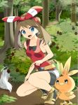 1girl :d absurdres bangs bike_shorts black_shorts blue_eyes bow breasts brown_hair collarbone day eye_contact eyebrows_visible_through_hair floating_hair forest gen_3_pokemon hair_between_eyes hair_bow hairband haruka_(pokemon) highres index_finger_raised long_hair looking_at_another nature open_mouth outdoors pokemon pokemon_(creature) pokemon_(game) pokemon_oras red_hairband red_shirt shiny shiny_hair shirt short_shorts shorts shorts_under_shorts sleeveless sleeveless_shirt small_breasts smile solo starter_pokemon striped striped_bow torchic twintails white_shorts yuihiko