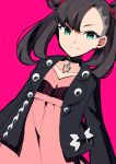 1girl absurdres asymmetrical_bangs bangs black_choker black_jacket brown_hair choker closed_mouth green_eyes high-waist_skirt highres jacket long_hair long_sleeves looking_at_viewer mary_(pokemon) open_clothes open_jacket pink_background pink_shirt pink_skirt pokemon pokemon_(game) pokemon_swsh shiny shiny_hair shirt skirt smile solo standing yuihiko