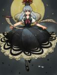 1girl black_footwear black_headwear blue_dress breasts character_name commentary_request dress floating full_body full_moon grey_background grey_legwear hat highres kamishirasawa_keine long_hair looking_at_viewer mashuu_masaki medium_breasts moon outstretched_arms puffy_short_sleeves puffy_sleeves red_neckwear scroll shirt shoes short_sleeves smile solo spread_arms star_(symbol) touhou white_shirt