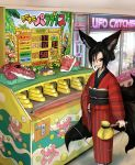 1girl animal_ears black_hair black_nails black_sclera crane_game doitsuken fingernails fox_child_(doitsuken) fox_ears fox_tail grin hair_bun hand_on_hip japanese_clothes kimono kitsune_spirit_(doitsuken) multiple_tails original red_kimono sharp_fingernails sharp_teeth smile solo tabi tail teeth wani_wani_panic white_legwear yellow_eyes