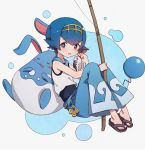 1girl azumarill blue_eyes blue_hair blue_pants fishing_rod gen_2_pokemon gen_7_pokemon gold_hairband looking_at_viewer lunia one-piece_swimsuit open_mouth pants pokemon pokemon_(creature) pokemon_(game) pokemon_sm sailor_collar sandals short_hair sleeveless suiren_(pokemon) swimsuit swimsuit_under_clothes trial_captain wishiwashi wishiwashi_(solo)
