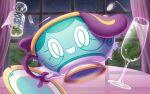 commentary_request fork gen_8_pokemon glass hakuginnosora indoors night no_humans pokemon pokemon_(creature) sinistea sky smile solo star_(sky) starry_sky window