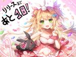 1girl apple_caramel bangs bare_arms blonde_hair breasts candy choker collarbone commentary_request countdown dress eyebrows_visible_through_hair food green_eyes hair_between_eyes hair_ribbon hairband halterneck heart highres index_finger_raised long_hair looking_at_viewer medium_breasts official_art original pointy_ears red_dress ribbon sidelocks solo two_side_up