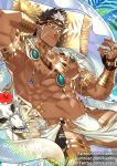 1boy abs bara beard brown_hair bulge chest dark_skin dark_skinned_male facial_hair jewelry kienbiu looking_at_viewer male_focus manly muscle nipples pectorals revealing_clothes smile snake solo sparkle tangaroa tokyo_houkago_summoners upper_body yellow_eyes