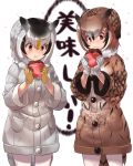 2girls :t bangs bird_tail blush brown_coat brown_hair coat cowboy_shot eating eurasian_eagle_owl_(kemono_friends) food gloves grey_coat grey_hair hair_between_eyes head_wings kemono_friends multiple_girls northern_white-faced_owl_(kemono_friends) orange_hair red_eyes short_hair simple_background tadano_magu translated white_background white_gloves yellow_eyes yellow_gloves