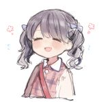 1girl :d =_= bag blush bow collared_shirt dress facing_viewer fangs grey_hair hair_bow happy ikeuchi_tanuma medium_hair open_mouth original pink_dress purple_bow shirt shoulder_bag simple_background skin_fangs smile solo twintails upper_body white_background