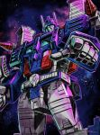 1boy absurdres autobot blue_eyes highres looking_at_viewer looking_down mecha no_humans pointing pointing_at_viewer solo space transformers ultra_magnus yasukuni_kazumasa