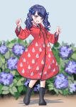 1girl absurdres bangs blue_hair blurry blurry_background blush boots clenched_hands coat collared_shirt commentary_request darumaya_(azarasidesuyone) eyebrows_visible_through_hair flower fukumaru_koito highres hooded_coat idolmaster idolmaster_shiny_colors long_sleeves neck_ribbon open_mouth outdoors purple_flower raincoat raindrop_print red_coat ribbon rubber_boots shadow shirt twintails violet_eyes white_shirt