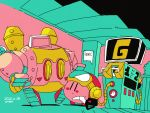 1boy artist_name aviator_cap black_eyes blush_stickers dated flat_color gas_pump gas_pump_nozzle gas_station glasses goggles goggles_on_headwear green-tinted_eyewear holding kirby kirby:_planet_robobot kirby_(series) mecha opaque_glasses outdoors pink_skin pink_sky red_headwear refueling robobot_armor saba_hokke shadow signature solo standing walker yellow-framed_eyewear |_|