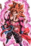 1boy aura big_hair bracelet chest closed_mouth commentary_request dragon_ball dragon_ball_heroes floating_rock fur highres jewelry looking_at_viewer male_focus muscle pink_fur redhead serious solo son_gokuu son_gokuu_(xeno) spiky_hair standing super_saiyan super_saiyan_4 super_saiyan_god yellow_eyes youngjijii